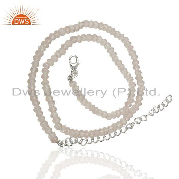 Exporter Rose Quartz Gemstone Beads 925 Silver Chain Necklace Jewelry Supplier