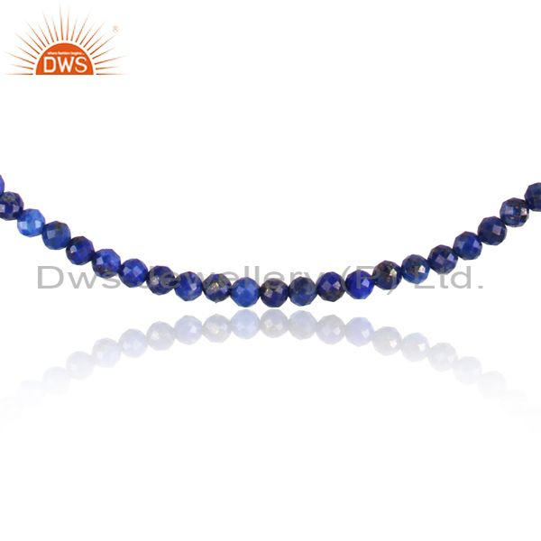 Exporter Lapis Gemstone Fine Silver Womens Chain Necklace Jewelry Supplier