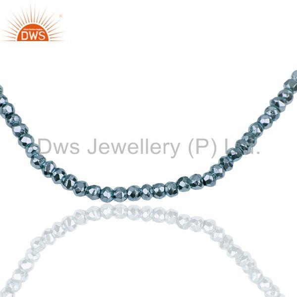 Exporter Blue Pyrite Gemstone 925 Sterling Fine Silver Chain Necklace Jewelry