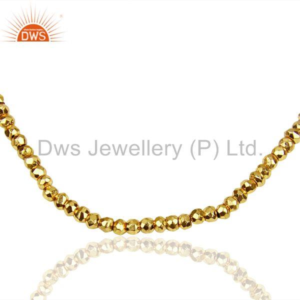 Exporter Gold Pyrite Beads Gemstone Sterling Silver Chain Necklace Supplier