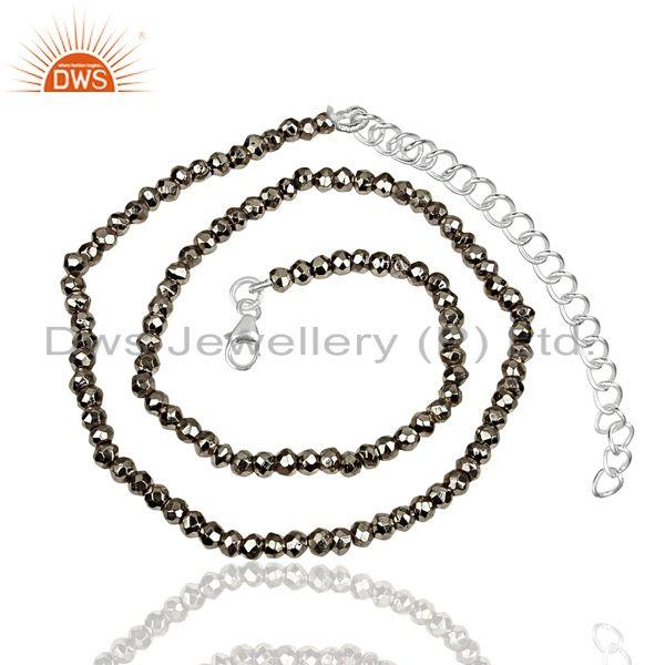 Exporter Metal Pyrite Gemstone Beads Silver Fine Chain Necklace Jewelry