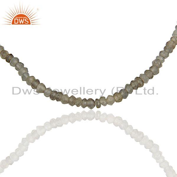 Exporter Gray Moonstone Sterling Silver Fashion Chain Necklace Manufacturer