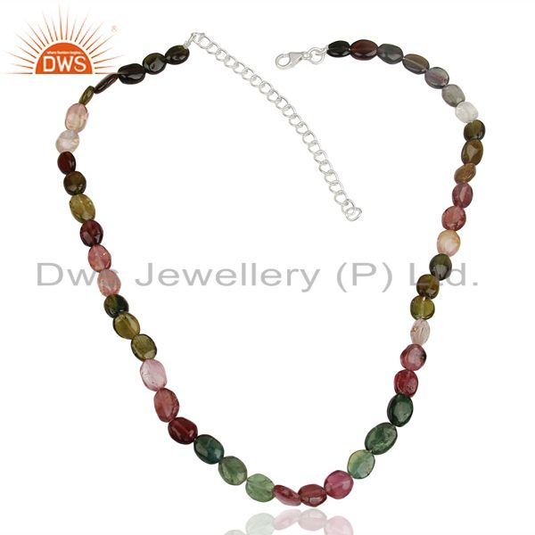 Exporter Handmade Tourmaline Gemstone Beads Silver Necklace Jewelry Wholesale