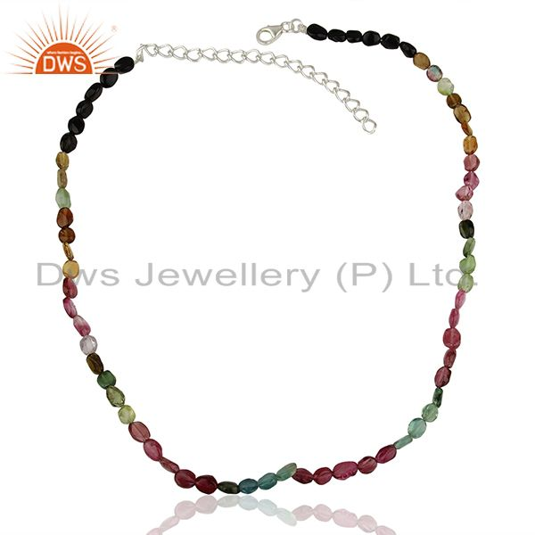 Exporter Pink Tourmaline Gemstone Silver Necklace Jewelry Manufacturer Supplier
