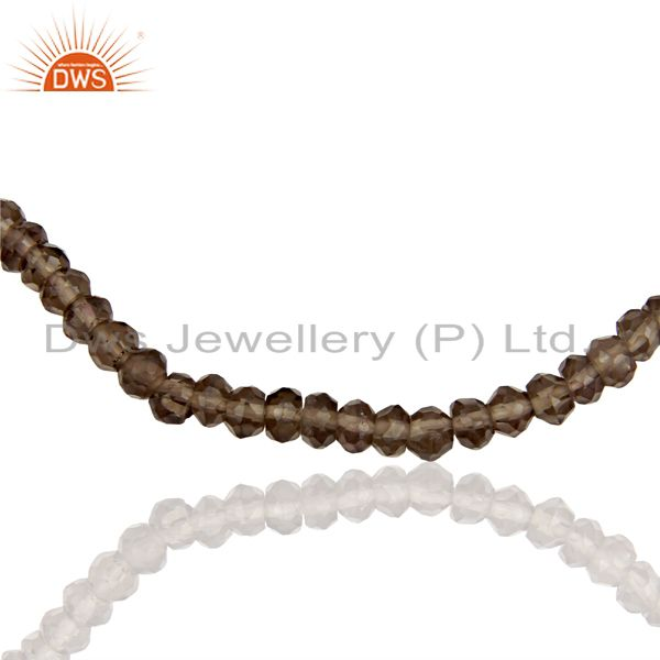 Exporter Smoky Quartz Gemstone Beads Supplier Silver Chain Necklace Jewelry