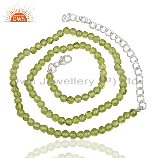Exporter Peridot Gemstone Wholesale Fine Silver Chain Necklace Manufacturer