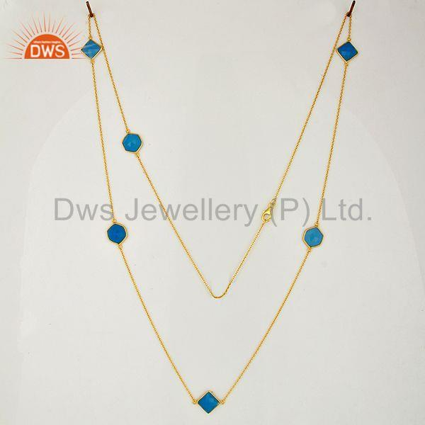 Exporter Gold Plated Silver Blue Chalcedony Gemstone Chain Necklace Jewelry