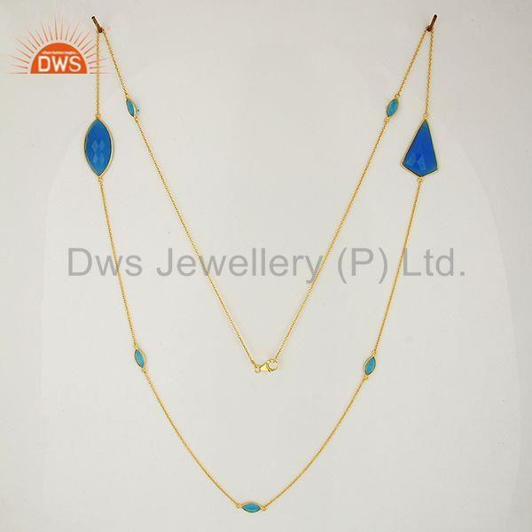 Exporter Wholesale Blue Chalcedony Gemstone Sterling Silver Necklace Supplier