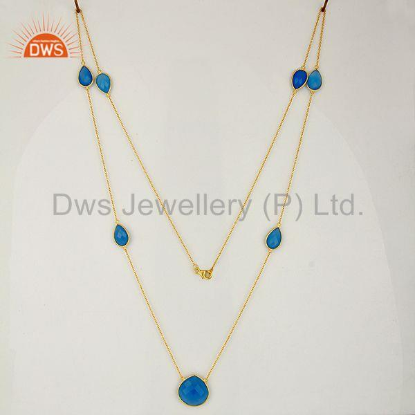 Exporter IndianBlue Chalcedony Gemstone Gold Plated Chain Necklace Wholesale