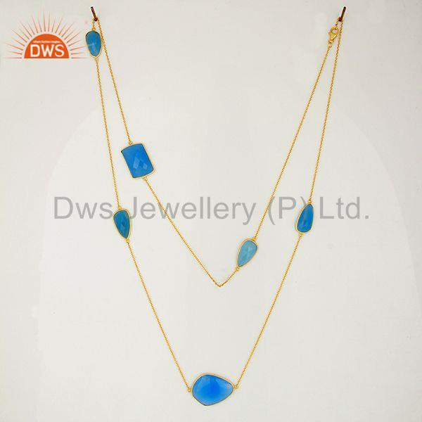 Exporter Blue Chalcedony Gemstone Gold Plated Silver Chain Necklace Jewelry