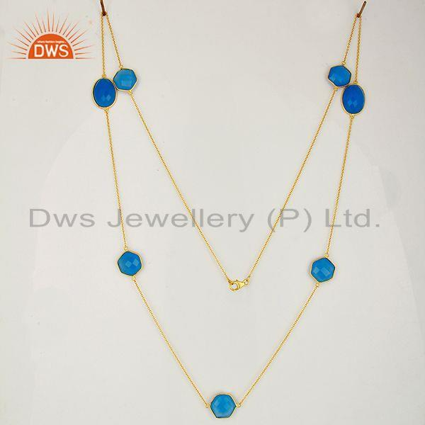 Exporter Blue Chalcedony Gemstone Silver Womens Necklace Jewelry Supplier