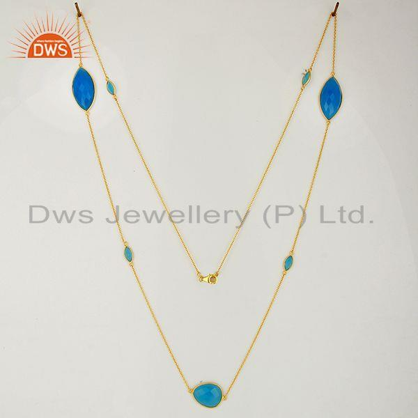 Exporter New Arrival Blue Chalcedony Gemstone Gold Plated Silver Necklace