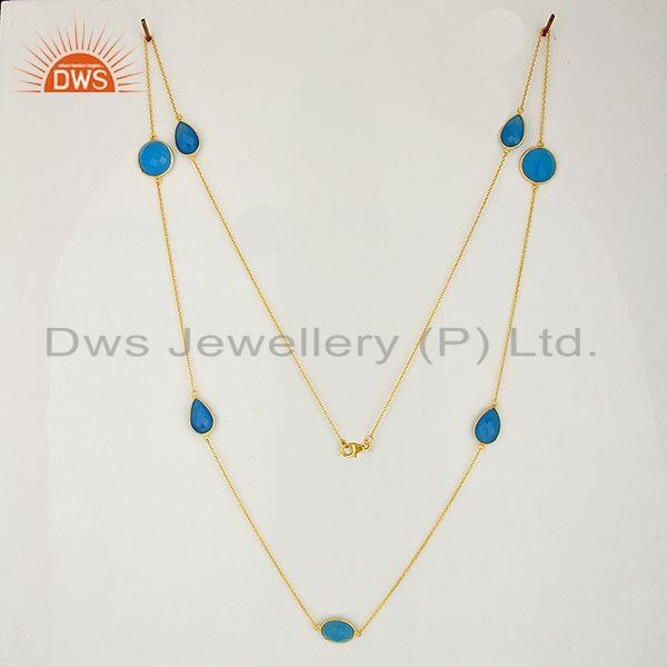 Exporter Indian Gold Plated Silver Blue Chalcedony Gemstone Necklace Jewelry