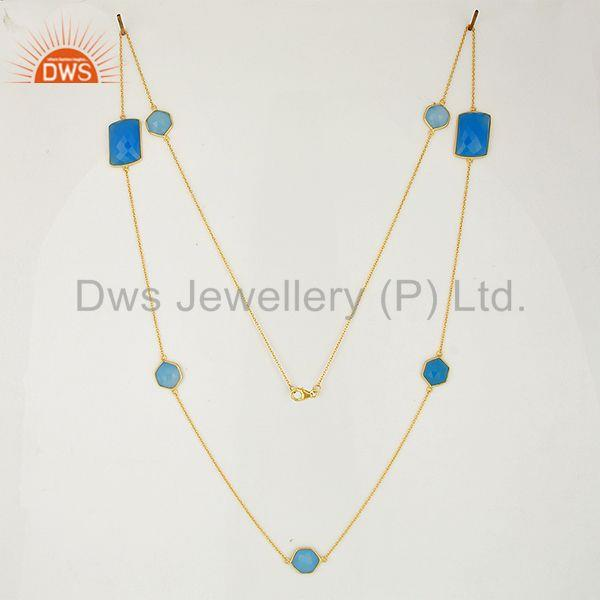 Exporter Blue Chalcedony Gemstone Gold Plated Silver Necklace Jaipur Jewelry