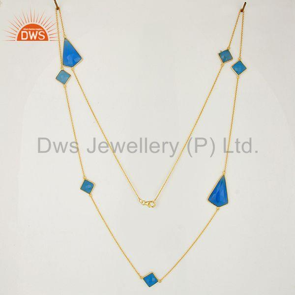 Exporter New Blue Chalcedony Gemstone Gold Plated Fashion Silver Necklaces