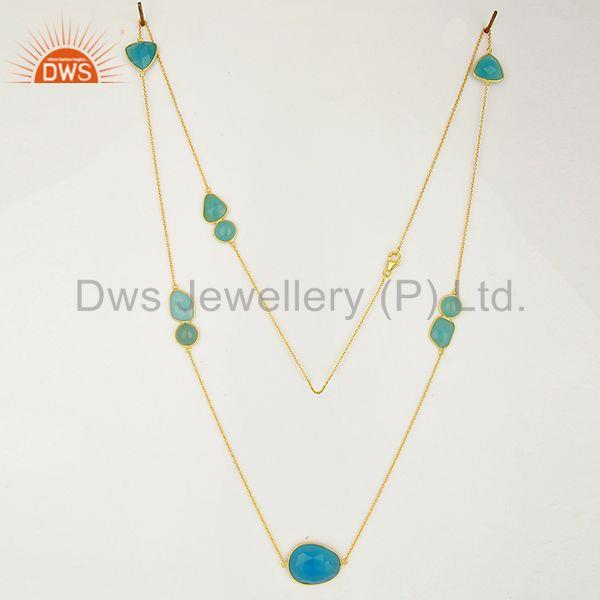 Exporter Jaipur Blue Chalcedony Gemstone Gold Plated Sterling Silver Necklaces