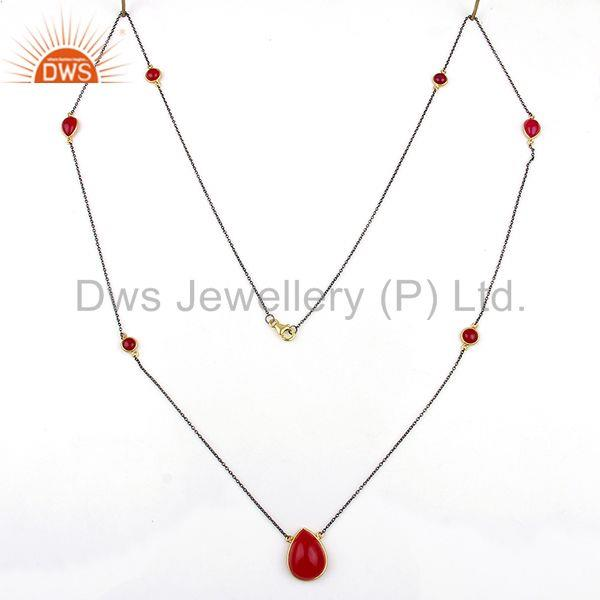 Exporter Pink Chalcedony Gemstone 925 Silver Fashion Necklace Jewelry Supplier