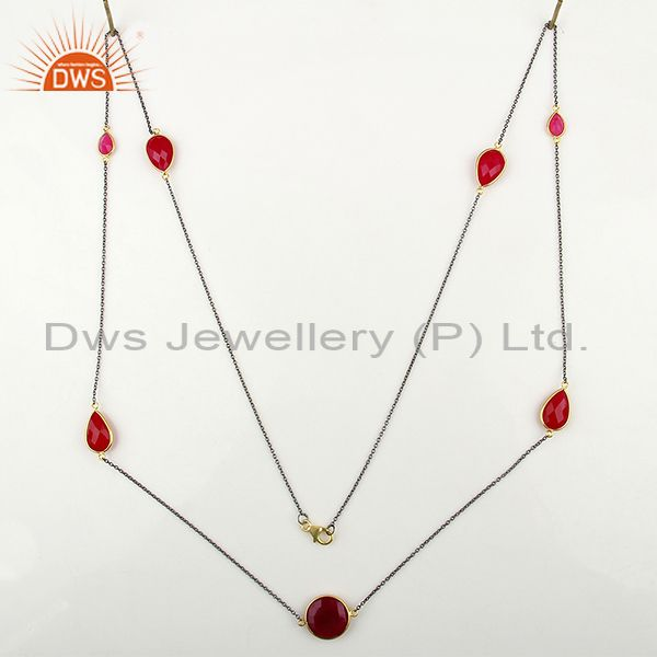 Exporter Wholesale Pink Chalcedony Gemstone Sterling Silver Necklace Jewelry
