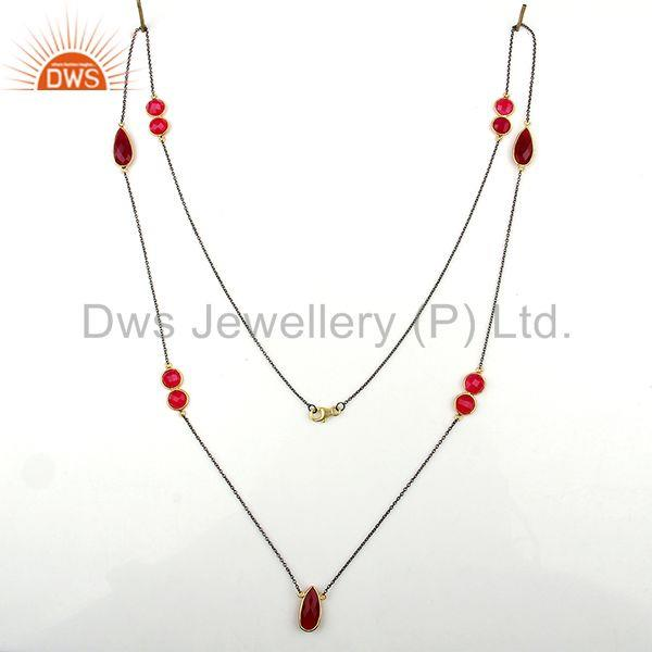 Exporter Supplier of Pink Chalcedony Gemstone Silver Womens Necklace Jewelry
