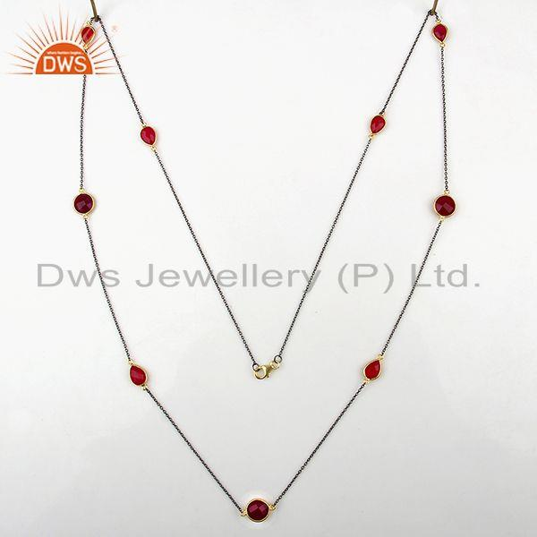 Exporter Manufacturer of Pink Chalcedony 925 Silver Gemstone Necklace Supplier