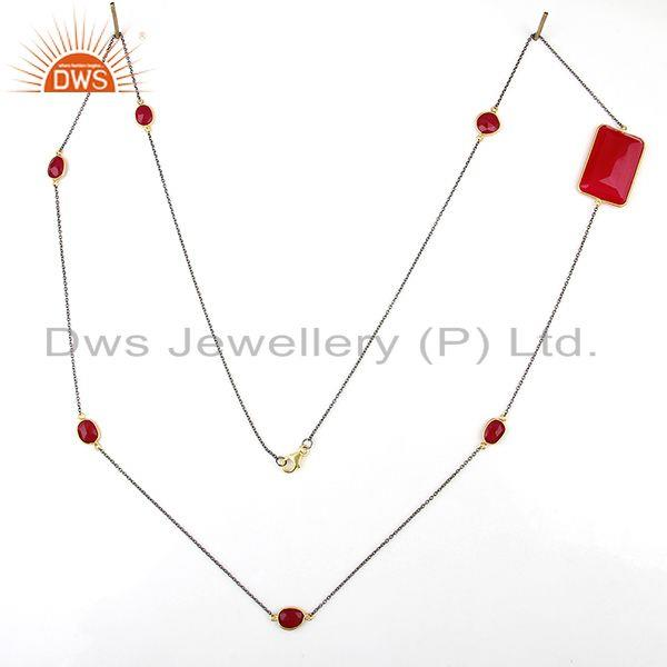 Exporter Wholesale 925 Silver Pink Chalcedony Gemstone Fashion Necklace
