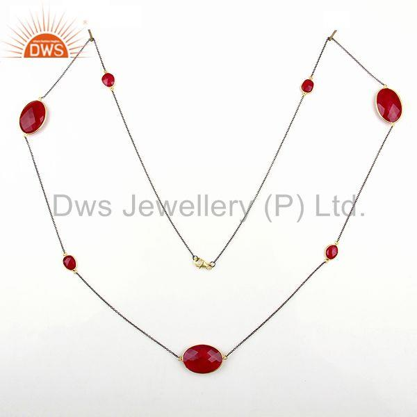 Exporter Supplier Pink Chalcedony Gemstone 925 Silver Chain Necklace Jewelry