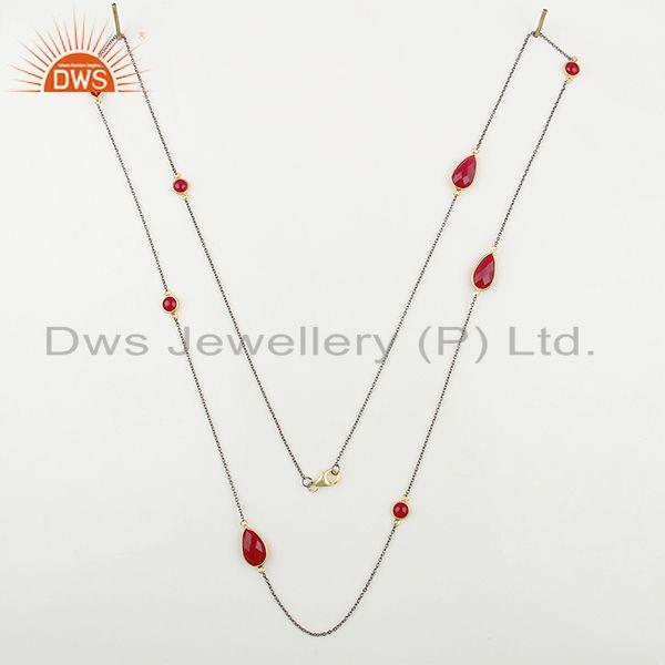 Exporter Designer 925 Silver Pink Chalcedony Gemstone Necklace Jewelry Supplier
