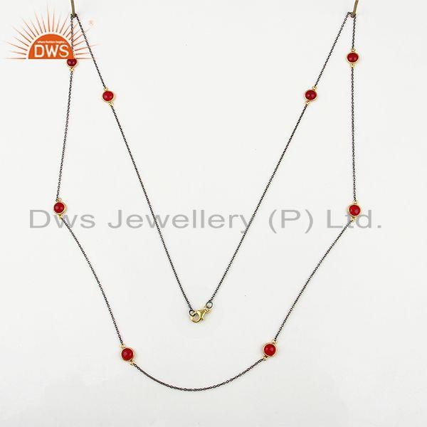 Exporter Manufacturer of 925 Sterling Silver Pink Chalcedony Gemstone Necklace