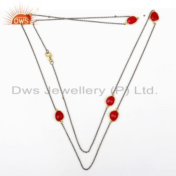 Exporter Pink Chalcedony Gemstone Gold Plated Silver Chain Necklace Manufacture