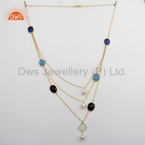 Exporter Solid 925 Sterling Silver Multi Gemstone Chain Necklace Supplier