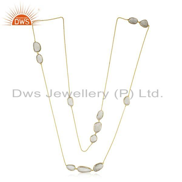 Exporter Gold Plated 925 Silver Green Amethyst Gemstone Chain Necklace Manufacturer