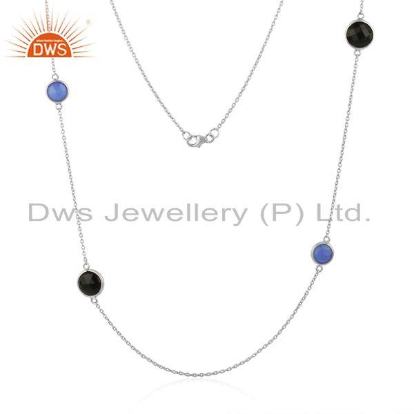 Exporter Blue Chalcedony and Onyx Black Gemstone 925 Silver Necklace Wholesale