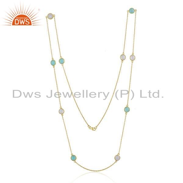 Exporter Chalcedony Rainbow Moonstone Gemstone Silver Chain Necklace Jewelry