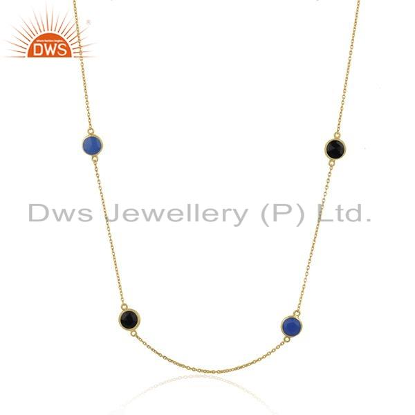 Exporter Chalcedony Black Onyx Gemstone Gold Plated Silver Necklace Jewelry