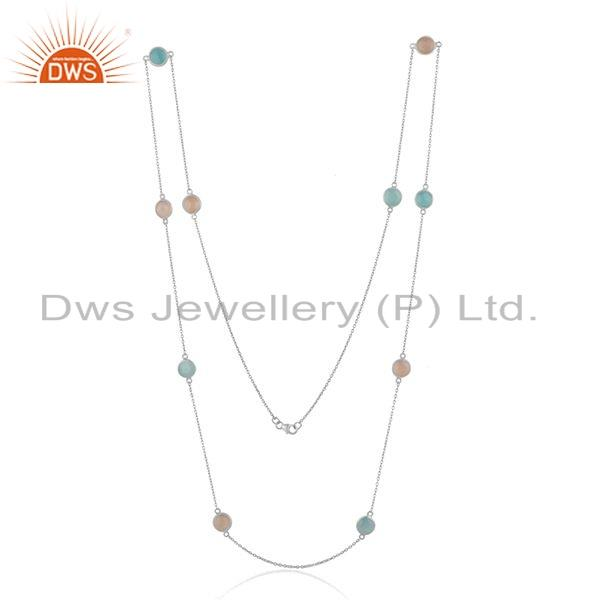 Exporter 925 Silver Aqua and Rose Chalcedony Gemstone Necklace Jewelry Supplier