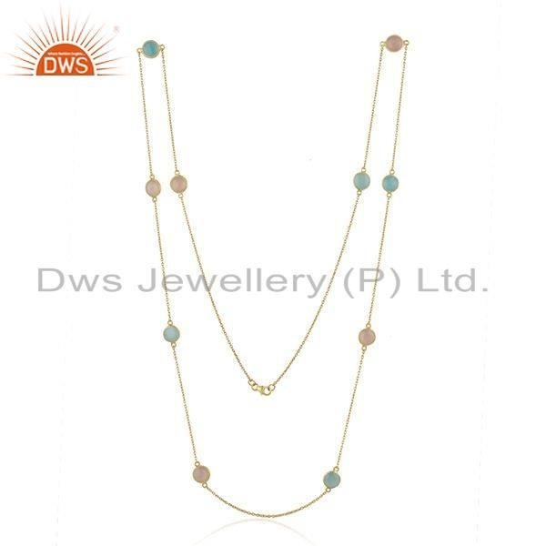 Exporter Chalcedony Gemstone 18k Gold Plated Silver Chain Necklace Jewelry