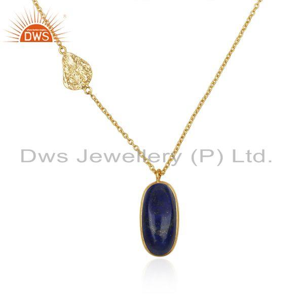 Exporter Lapis Lazuli Gemstone Pendant 925 Silver Gold Plated Chain Jewelry