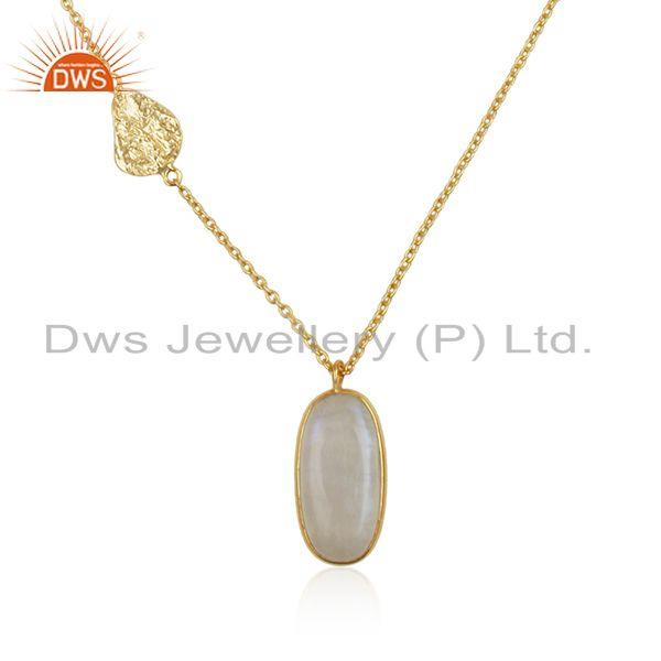 Exporter Handmade Sterling Silver Gold Plated Chain Moonstone Rainbow Pendant