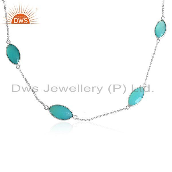 Exporter Aqua Chalcedony Gemstone 925 Sterling Silver Womens Chain Necklaces