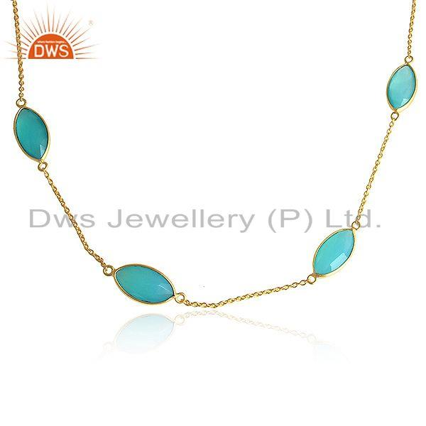 Exporter Aqua Chalcedony Gemstone Designer Gold Plated Silver Chain Necklaces