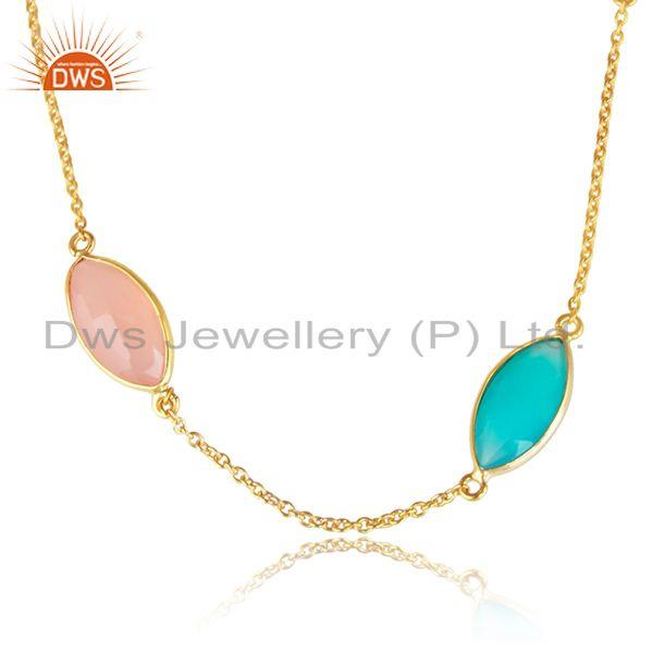 Aqua and rose chalcedony gemstone gold plated silver necklaces