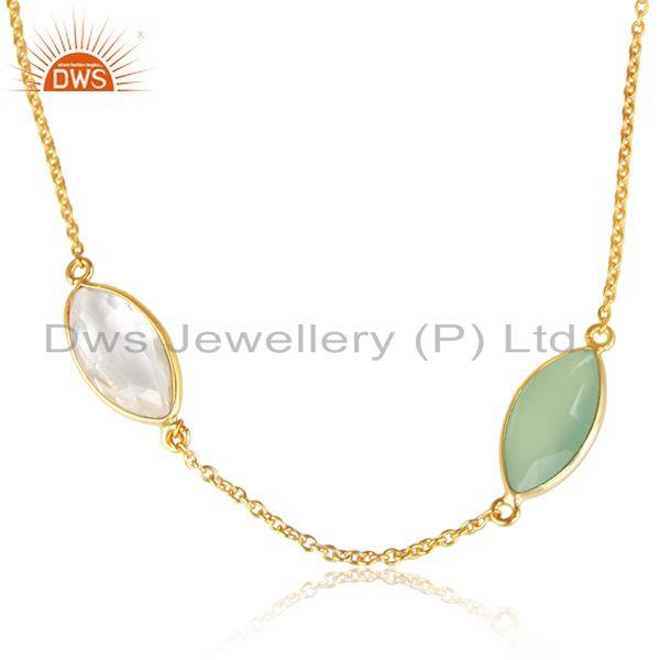 Crystal quartz chalcedony gemstone gold plated silver necklace