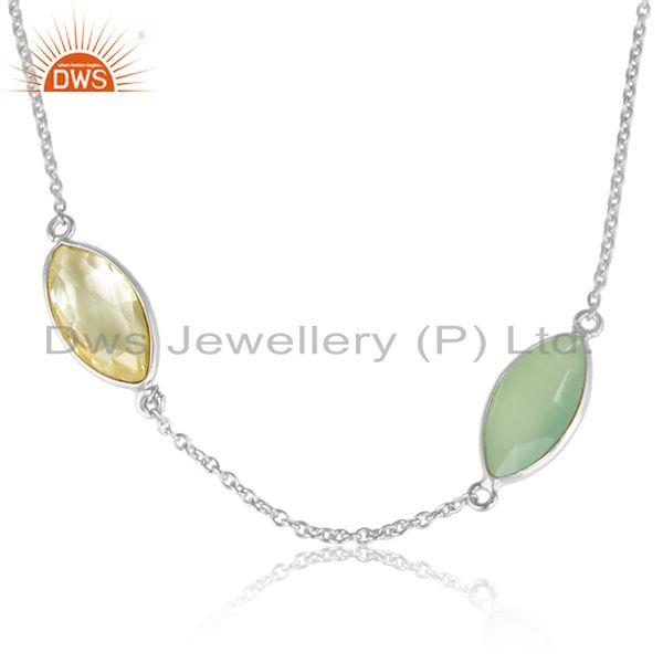 Prehnite chalcedony lemon topaz gemstone fine silver necklace