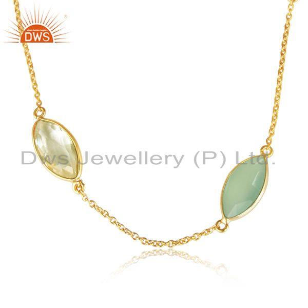 Lemon topaz chalcedony womens gold plated silver chain necklaces