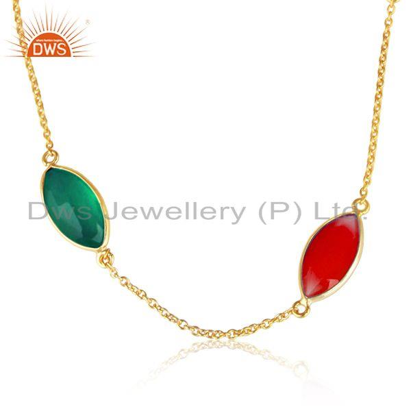 Green and red onyx gemstone gold plated silver chain necklaces
