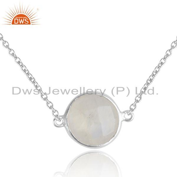 Rainbow moonstone gemstone girls sterling fine silver necklaces