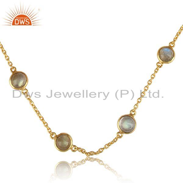 Designer multi stone labradorite necklace in yellow gold on silver