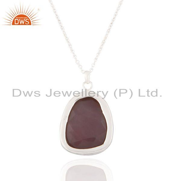 Suppliers Raw Rose Chalcedony Bezel Set Pendant in Sterling Silver With 16
