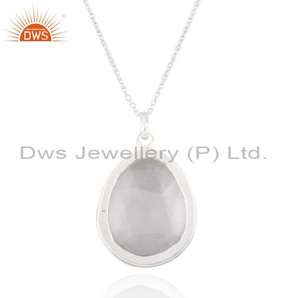 Suppliers Natural Himalayan Rock Crystal Quartz Sterling Silver Pendant with 16