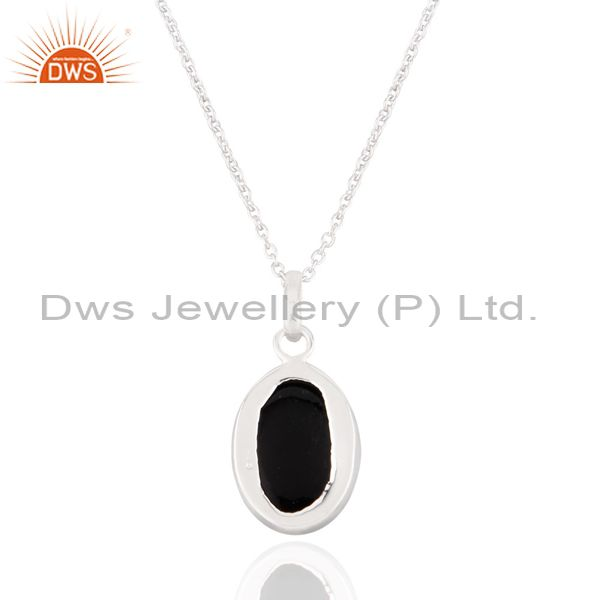 Suppliers Glamour Black Onyx Gemstone Bezel Set 925 Steling SIlver Silver Pendant With Cha